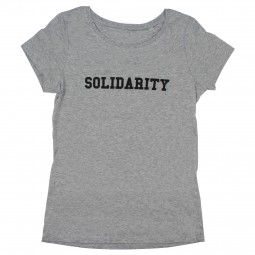 women's grey t-shirt with solidarity slogan