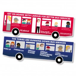 Image of diecut get on board with Labour for better bus services leaflet.