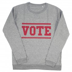 Men's grey sweater with vote slogan in red