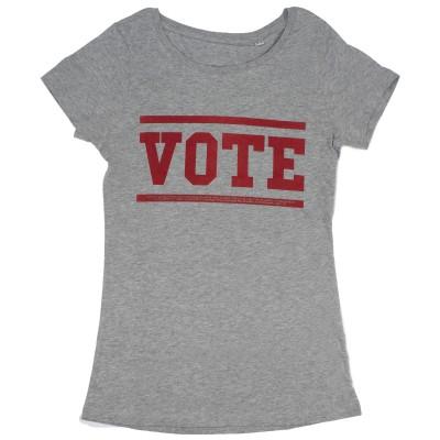 Women's grey t-shirt with red vote slogan